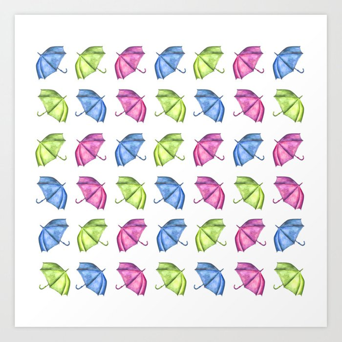 picture relating to Umbrella Pattern Printable named Colourful Umbrella Routine Artwork Print